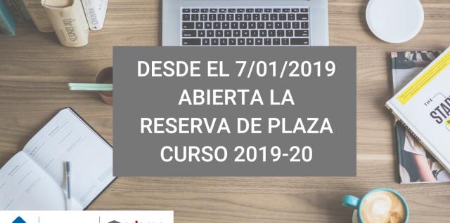 Reserva de plaza Grado de Odontología curso 2019-20