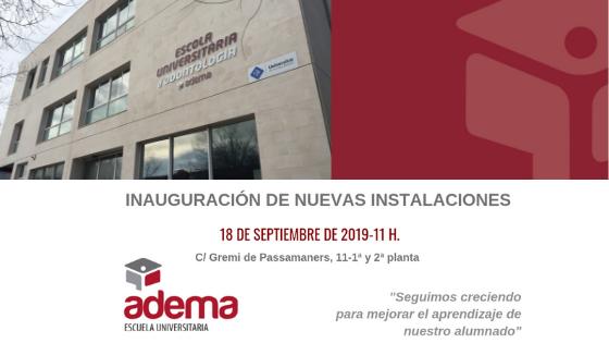 CAMBIO DOMICILIO FP: La Escuela Universitaria ADEMA amplia las instalaciones para ubicar todas las titulaciones oficiales de FP y grados universitarios en el Campus Son Rossinyol