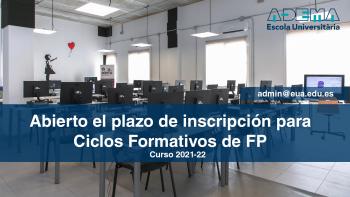Enlace permanente a:Inscripción abierta- Ciclos Formativos de FP Curso 2021-22 Presenciales y Online